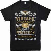 Personalised Made in 1950 Vintage T-Shirt, Born 1950 Birthday Age Year Gift Top