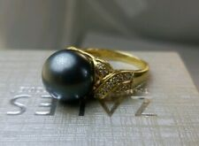 Zales 12.3mm Tahitian Pearl Diamond (.21tcw VS/H) 18k Solid Gold Ring MIKIM0T0?