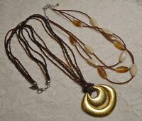 VINTAGE TO NOW MULTI STRAND YELLOW BROWN GLASS SEED BEADED BOHO NECKLACE LOT