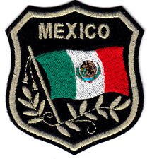 MEXICO FLAG ON  SHIELD - MEXICAN - FLAG WAVING - IRON ON EMBROIDERED PATCH