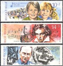 Belgium 1990 Beethoven/Music/Cantre/Sculpture/Orchestra/People/Art 3v set n45030