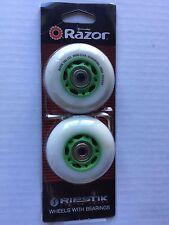 RAZOR X RIPSTIK CASTER BOARD REPLACEMENT WHEEL SET  GREEN WHITE w ALLAN Wrenches