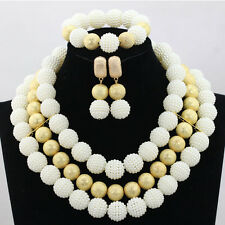 White with Gold Balls Wedding Bridal Party African Nigerian Beads Jewelry Set