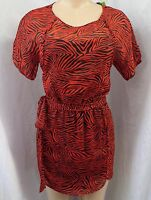 """SAM EDELMAN""  RED & BLACK TRIBAL SPIRIT PRINT BLOUSON MINI DRESS SZ: S NWT $119"