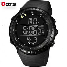 OTS Man Sports Watches Waterproof Su Un To Large Face LED Digital  Black Gift