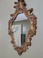 Vintage Carved MIRROR GOLD ITALY ROCOCO ORNATE Wall ITALIAN Floral FLORENTINE