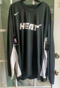 Men's Nike NBA Dri-Fit Miami Heat Long Sleeve Gray AV0907-060 Size XXL-TALL