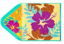 Papyrus Gorgeous Blank Card- Glitter Tropical Flowers in Beautiful Colors