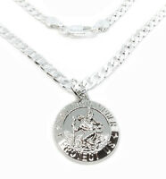 "925 Sterling Silver 24"" Curb Link Chain Necklace And Saint Christopher Pendant"
