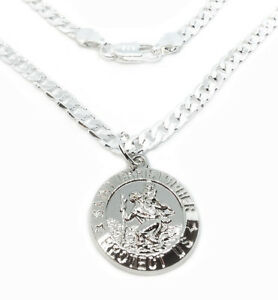 """925 Sterling Silver 20"""" Curb Link Chain Necklace And Saint Christopher Pendant"""