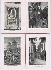 Columbus, Independence, Vueltas,Royal Palms Havana- 1896 Cuban History Prints