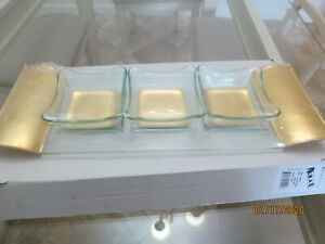 Classic Touch Glass Tray and Bowl Set Brand New
