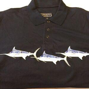 Marlin Swordfish Susquehanna Trail Outfitters Polo Shirt Size XL EUC Wahoo Navy