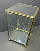 Vintage Brass and Etched Glass Display Case Hinged Box Footed