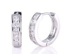 White gold finish huggie princess cut hoop created diamond earrings