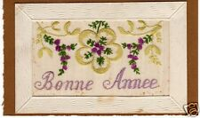 Postcard Bonne Year Embroidery on Tulle 1916