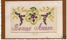 CARTE POSTALE BONNE ANNEE BRODERIE SUR TULLE 1916