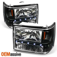 93-98 Jeep Grand Cherokee Black 1PC LED Headlights/Corner/Bumper Lamp Left+Right