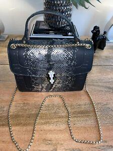 Fashion SNAKE HEAD SERPENTI Faux Python Print Satchel crossbody Shoulder Bag