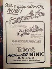 M9-1 Ephemera 1956 Advert Triang Push And Go Minic Horse Series