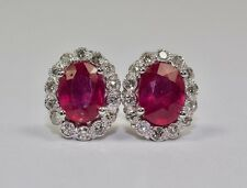 14k White Gold Oval Ruby And Round White Diamond 3.19 CTTW Halo Stud Earrings
