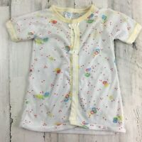 Vtg Curity Baby Top Jacket Yellow Balloons Boys Girls Stained 1980s
