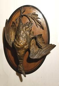 Paul Comolera (after?) 19th C Bronze Patina Spelter Duck Trophy Wall Plaque
