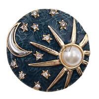 Enamel Sun and Moon Brooch Pin Women Fashion Jewellery Breastpin Ornament Gift