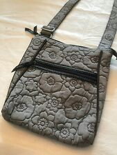 Thirty One Quilted Gray Floral Purse Shoulder Bag CrossBody