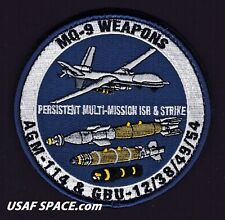 USAF MQ-9 REAPER - WEAPONS - AGM-114 Hellfire Missile's - JDAMs - ORIGINAL PATCH