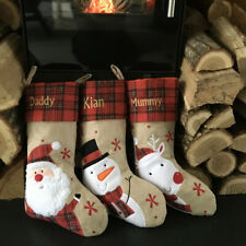 Personalised Luxury Embroidered Xmas Stocking Christmas Sack Tartan Hessian Cute