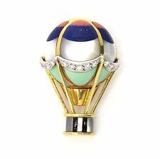 Asch Grossbardt Gold Diamond Gemstone Hot Air Balloon Brooch Pin