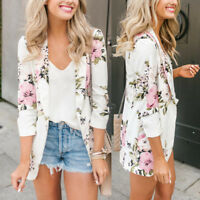 Fashion Women's Floral Slim Casual Blazer Suit Lady Work Jacket Coat Outerwear