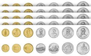 Paraguay 5 (x) 7 Pcs Coin Set 1 5 10 50 100 500 1000 Guaranies 1992 2008, UNC