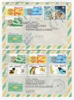 Brazil 1973 Air Mail Registered covers Dumont aviation Tropical birds plants HCV