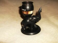 GOOD OLD VINTAGE CARVED EBONY WOODEN ELEPHANT WITH PORCUPINE QUILL MATCH POT 4""