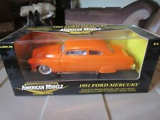 american muscle earth collectible 1951 ford mercury 1:18 orange die cast limited