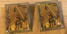 2 HEROES USA 2001 UNITED STATES POSTAGE STAMP PIN NEW YORK FIRE FIGHTERS POLICE