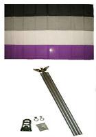3x5 Gay Pride Asexual Rainbow Flag w 6' Ft Aluminum Flagpole Kit