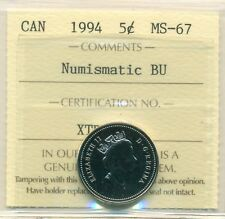 1994 Canada 5 Cent Certified ICCS MS-67, Very Affordable for New Hobbyist