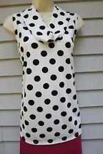 NWT Ann Taylor White Dot Sleeveless Drape Neck Shell XL