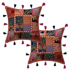 "Cotton Traditional Patchwork Kodi Tassels 16"" Pillow Cases Indian Cushion Cover"