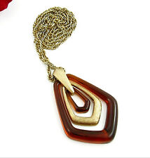"Avon Brown Multi Ring Pendant NECKLACE Vintage Goldtone Medallion 26"" Signed"