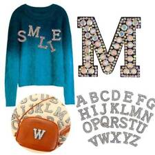 NEW Rhinestone Sparkle Letter Patch Patches Iron on Alphabet Embroidery Clothes