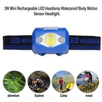 3W USB Rechargeable LED Headlamp Waterproof Motion Sensor Fishing Headlight Lamp