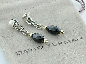 David Yurman Sterling Silver & 18K Gold Black Onyx Bijoux Figaro Dangle Earrings