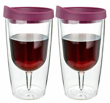 Insulated Wine Tumbler 2 Pack 10oz Red Drink Slide Lid Acrylic Adult Sippy Cup