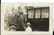 3x41/2 b+w photo 1930s era i believe of father and son in front of model t car