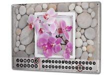 Perpetual Calendar Flora Floral  Orchid Tin Metal Magnetic