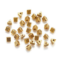100pcs Tibetan Alloy Carved Metal Beads Triangle Loose Spacer Antique Gold 4.5mm